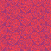 Valentine's day seamless background with hand drawn hearts — Stock Vector