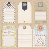 Vintage Style Tags with hand drawn arrows — Stock Vector