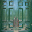 Stock Photo: Big metallic green doors