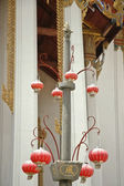 Red chinese lanterns hanged in Thai temple — Stock Photo