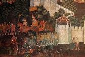 Ancient Thai Ramayana drawing on a wall — Stock Photo