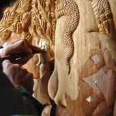 Wooden art carved by handmade in Thailand — Stock Photo