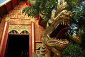 Naga golden dragon de estilo tailandês e majestoso templo de ouro — Fotografia Stock