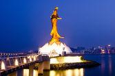 Statue of Kun Iam in the evening, the goddess of mercy, landmark of Macau — Stock Photo
