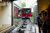HONGKONG - MARCH 27. Peak Tram, March 27, 2014, Hongkong, Japan. Peak Tram is one of the symbol of Hongkong left from the British times. It is one of the most famous sight draws tourists daily. — Photo