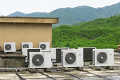 Air conditioning assembled on a building. — Stock Photo