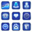 Services icons and mobile phone apps — Imagen vectorial