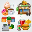 Fast food icon set — Imagen vectorial