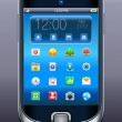 Mobile phone with icons — Imagen vectorial