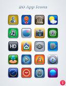 20 app pictogrammen. — Stockvector