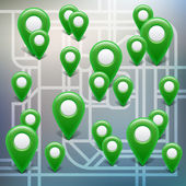 Map with green pointers — Stock Vector