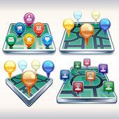 Mapamundi con los iconos del punto — Vector de stock