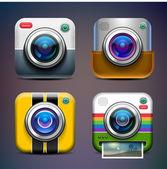 Photo camera icon set. — Stock Vector