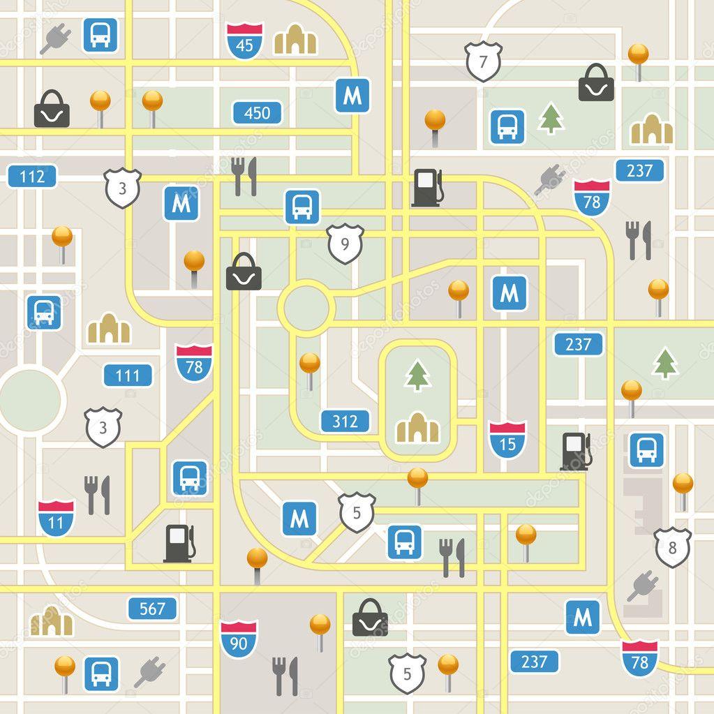 plan de la ville avec des ic nes de navigation image vectorielle yesman 35398151. Black Bedroom Furniture Sets. Home Design Ideas