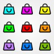 Shopping bag icon set — Stock Vector