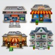 Store, gas station, cafe, fast food and house — Stock Vector