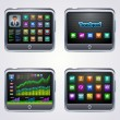Touchscreen tablet pc with icons — Imagen vectorial
