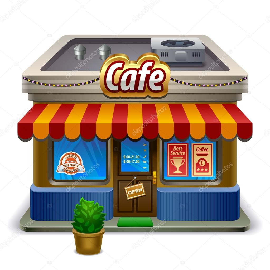 Detailed icon representing old european style cafe building