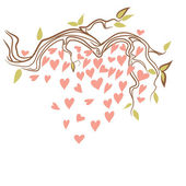 Tree branch with hearts — Stock Vector