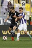Ujpest vs. dvtk otp bank league voetbal overeenkomen met — Stockfoto