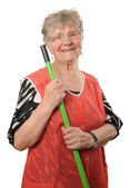 Senior cleaning lady — Stock Photo