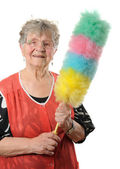 Senior cleaning lady — Stock Photo