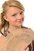 Girl with fan — Stock Photo