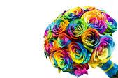 Regenbogen rosen brautstrauß — Stockfoto