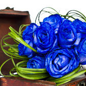 Blue roses bouquet — Stock Photo