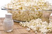 Wooden toothpicks, salt and popcorn — Foto de Stock