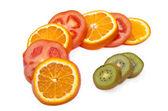 Fruit slices on display — Stock Photo