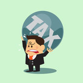 Business man taxes carry on shoulder and worry — Vector de stock