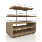 3d original brown racks shelves — Stockfoto