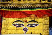 Swayambhunath chrám nebo opičí chrám buddha očima — Stock fotografie