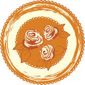Decorative background with round image with roses. — Stock Vector