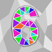 Colorato numero 6. figura di forme geometriche. — Vettoriale Stock