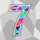 Colorful number 7. Figure of geometric shapes. — ストックベクタ