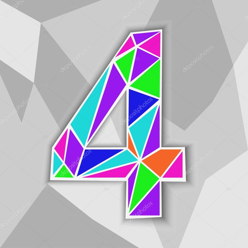 Colorful Number 4 Figure Of Geometric Shapes Stock
