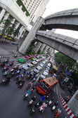Bangkok traffic jam with cars and motorbikes — Stock Photo