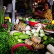 Market stall with a variety of fresh organic vegetables for sale — Stock Photo