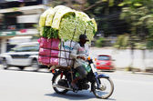 Motorbike driver with an overloaded vegetable transport — Stock Photo