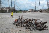 Burnt motorbike wrecks after volcano eruption — Stock Photo