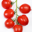 Isolated eating organic food fruit tomato vine red vegetable vegetarian ripe healthy backgrounds nature white — Stock Photo