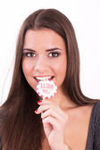 Smiling girl with lollipop — Stok fotoğraf