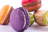Several types of colorful macarons — Stock Photo