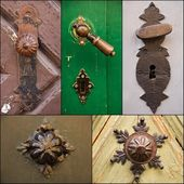 Collage of door knobs and handles — Foto de Stock
