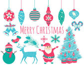 Merry Christmas Icons and Elements Set in Vector — Stock Vector