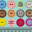 Fashion Buttons and Trim Pattern — Stock Vector