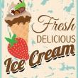 Fresh Retro Delicious Ice Cream Poster with Strawberry — Stock Vector #35812235