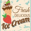 Fresh Retro Delicious Ice Cream Poster with Strawberry — Stock Vector